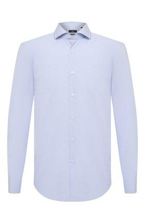 Мужская хлопковая сорочка BOSS голубого цвета, арт. 50439230 | Фото 1