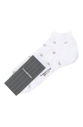 Мужские хлопковые носки ERMENEGILDO ZEGNA белого цвета, арт. N5V023240 | Фото 1