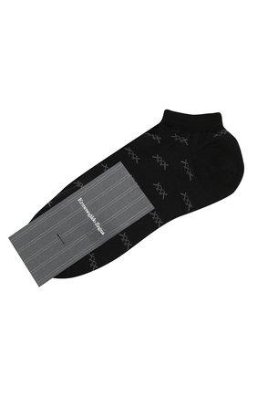 Мужские хлопковые носки ERMENEGILDO ZEGNA черного цвета, арт. N5V023250 | Фото 1