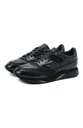 Мужские кожаные кроссовки SANTONI темно-синего цвета, арт. MBEN21167NGGRG0DU55   Фото 1