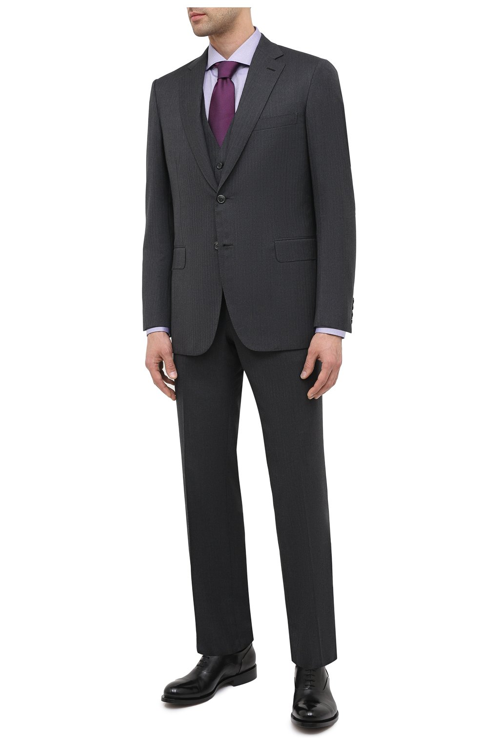 Мужские кожаные оксфорды SANTONI черного цвета, арт. MCCF16799BB4IVVDN01 | Фото 2