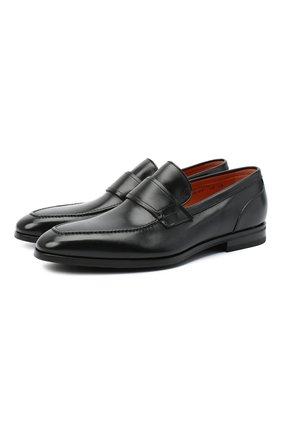 Мужские кожаные лоферы SANTONI черного цвета, арт. MCLE16451SI1ESCSN01 | Фото 1