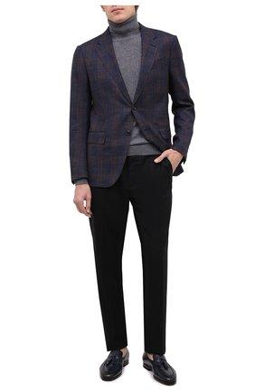 Мужские кожаные лоферы SANTONI темно-синего цвета, арт. MCNC16465SI1ESCSU53 | Фото 2