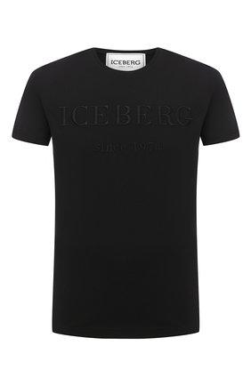 Мужская хлопковая футболка ICEBERG черного цвета, арт. 20I I1P0/F014/6301   Фото 1