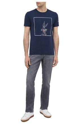 Мужская хлопковая футболка ICEBERG синего цвета, арт. 20I I1P0/F018/6309   Фото 2