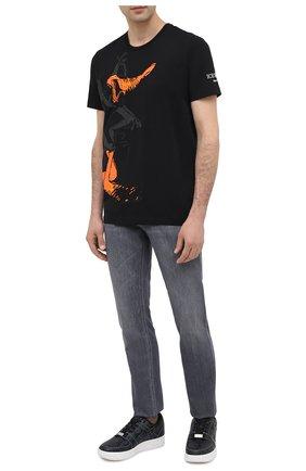 Мужская хлопковая футболка ICEBERG черного цвета, арт. 20I I1P0/F024/6301   Фото 2