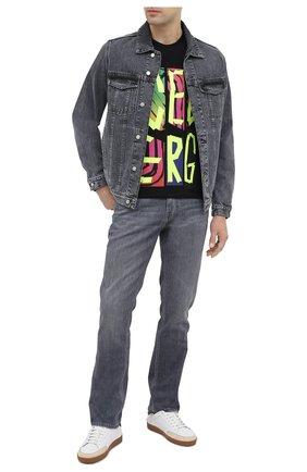 Мужская хлопковая футболка ICEBERG черного цвета, арт. 20I I1P0/F029/6301   Фото 2