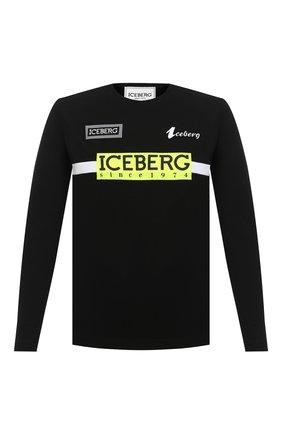 Мужская хлопковый лонгслив ICEBERG черного цвета, арт. 20I I1P0/F041/6301   Фото 1