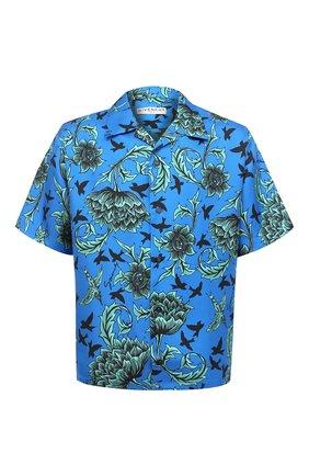Мужская шелковая рубашка GIVENCHY синего цвета, арт. BM60DV133H | Фото 1