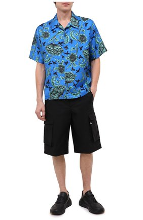 Мужская шелковая рубашка GIVENCHY синего цвета, арт. BM60DV133H | Фото 2