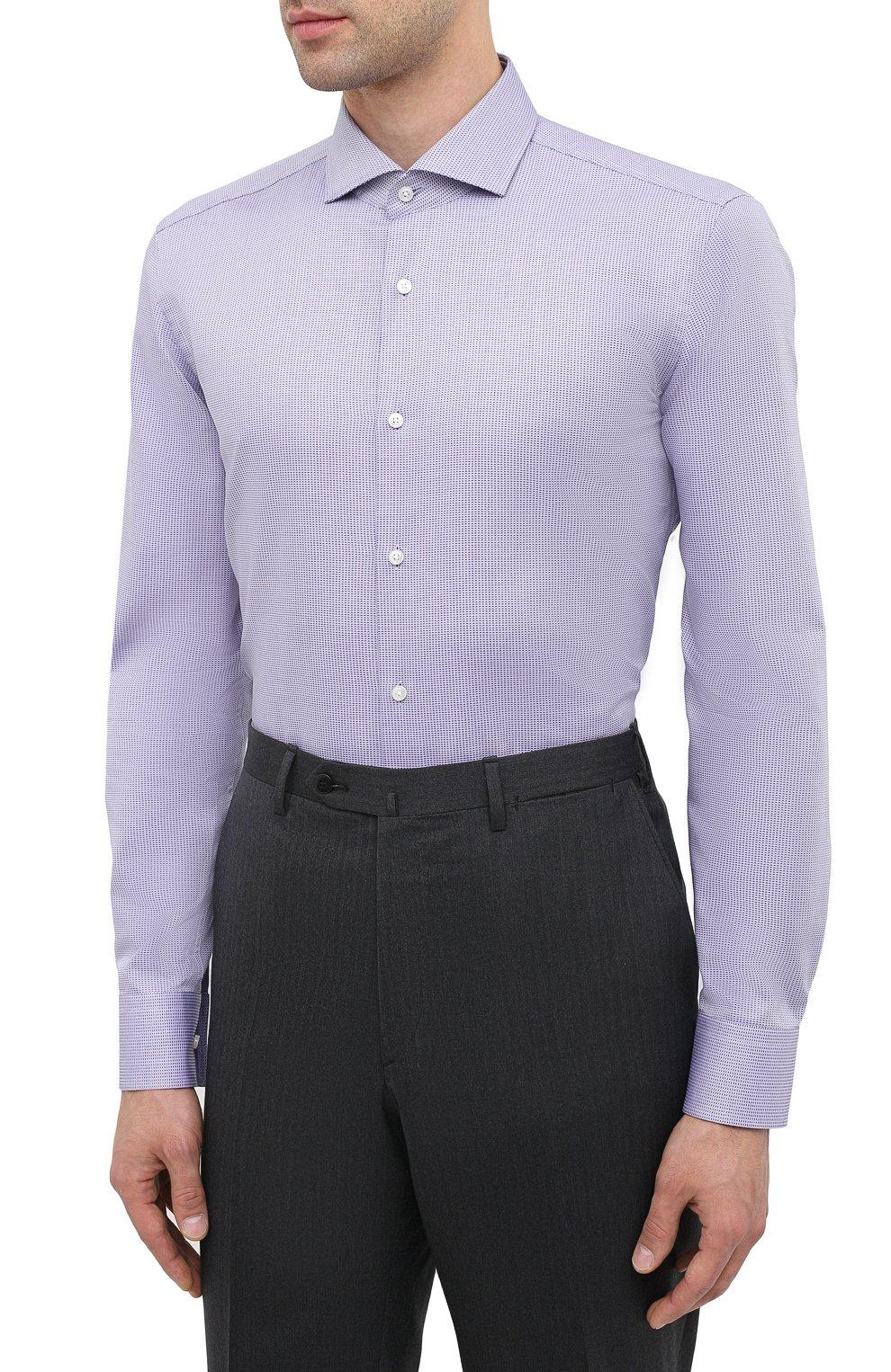 Мужская хлопковая сорочка BOSS сиреневого цвета, арт. 50439161 | Фото 3