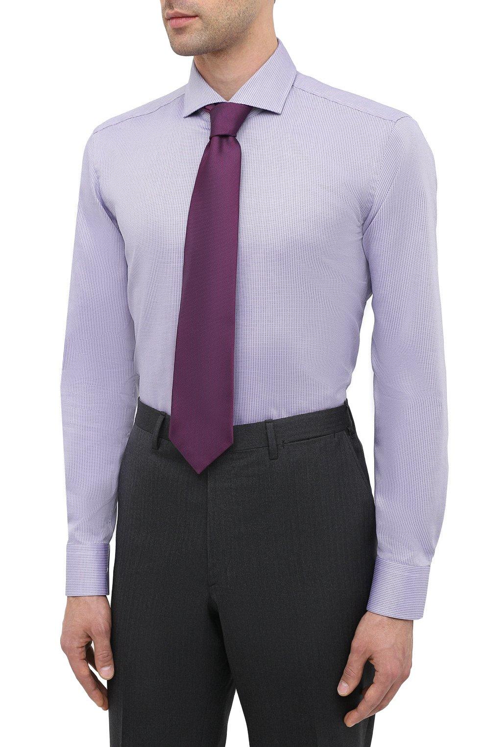 Мужская хлопковая сорочка BOSS сиреневого цвета, арт. 50439161 | Фото 4