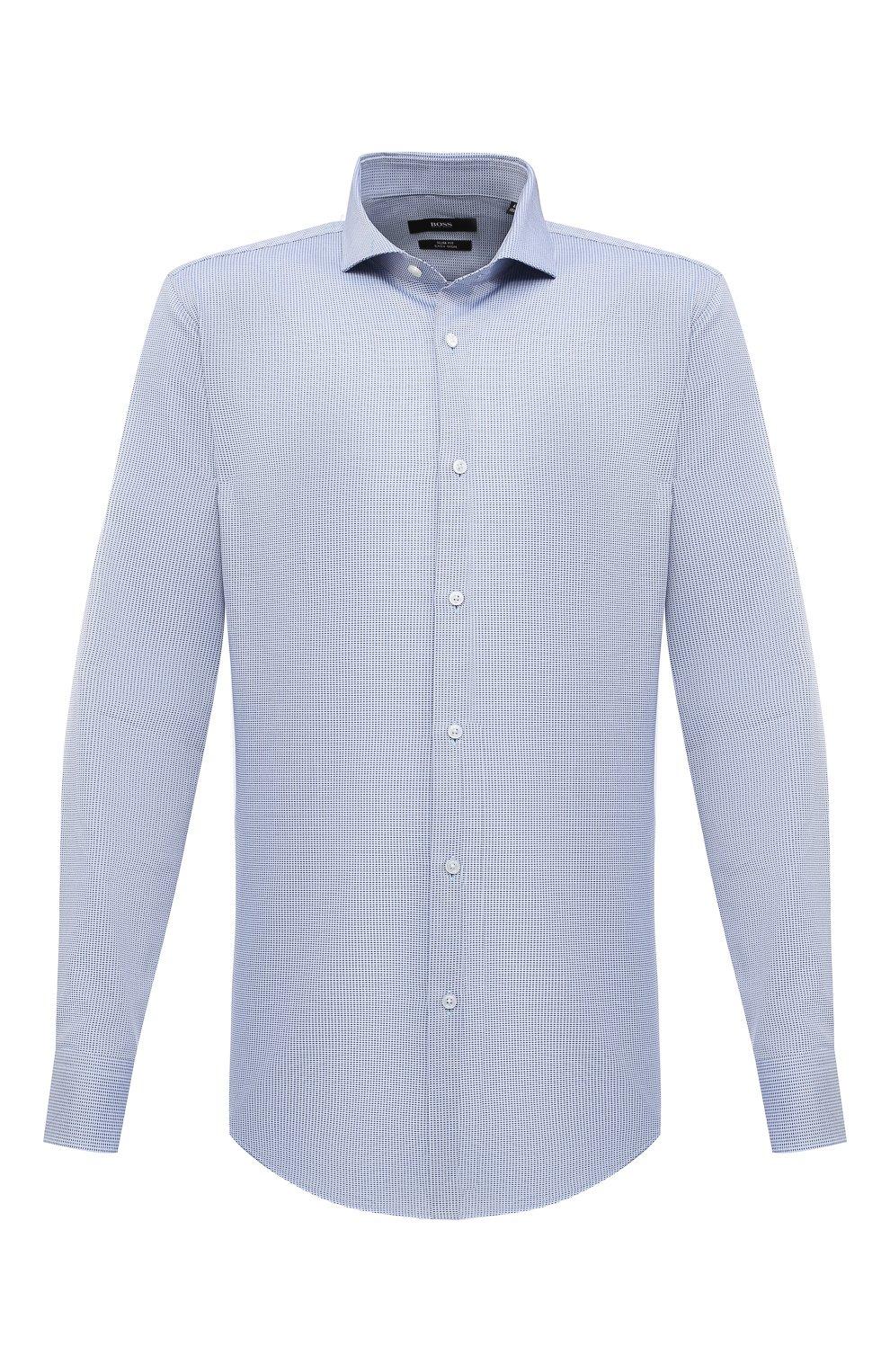 Мужская хлопковая сорочка BOSS синего цвета, арт. 50439161   Фото 1