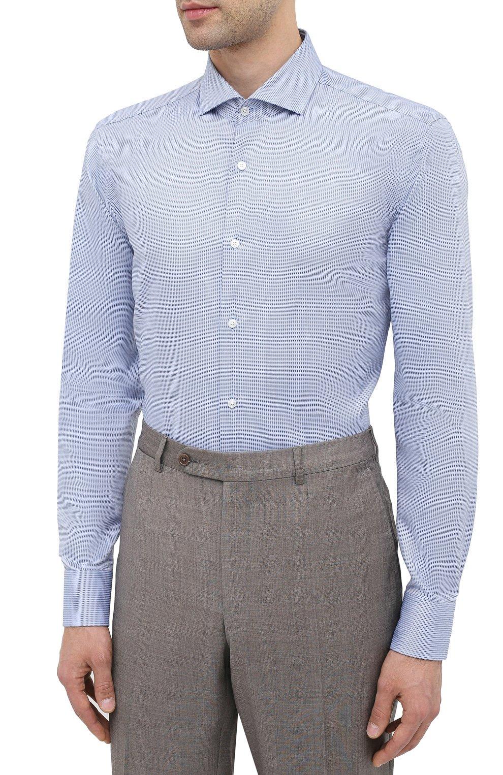 Мужская хлопковая сорочка BOSS синего цвета, арт. 50439161   Фото 3