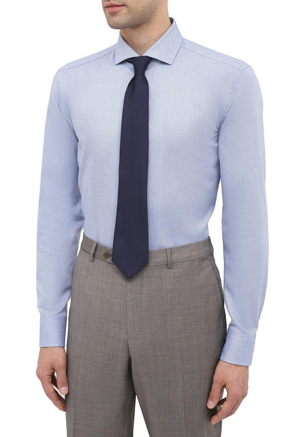 Мужская хлопковая сорочка BOSS синего цвета, арт. 50439161   Фото 4
