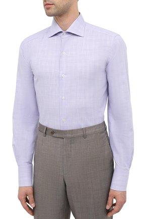 Мужская хлопковая сорочка TOM FORD фиолетового цвета, арт. 8FT216/94S3AX   Фото 3