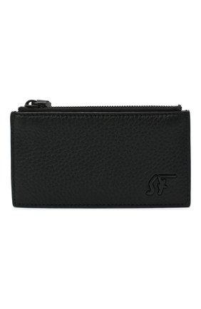 Мужской кожаный футляр для кредитных карт SALVATORE FERRAGAMO черного цвета, арт. Z-0733703 | Фото 1