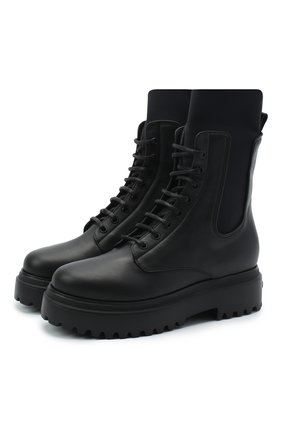 Женские кожаные ботинки ranger LE SILLA черного цвета, арт. 6482R020M1PPCHI | Фото 1
