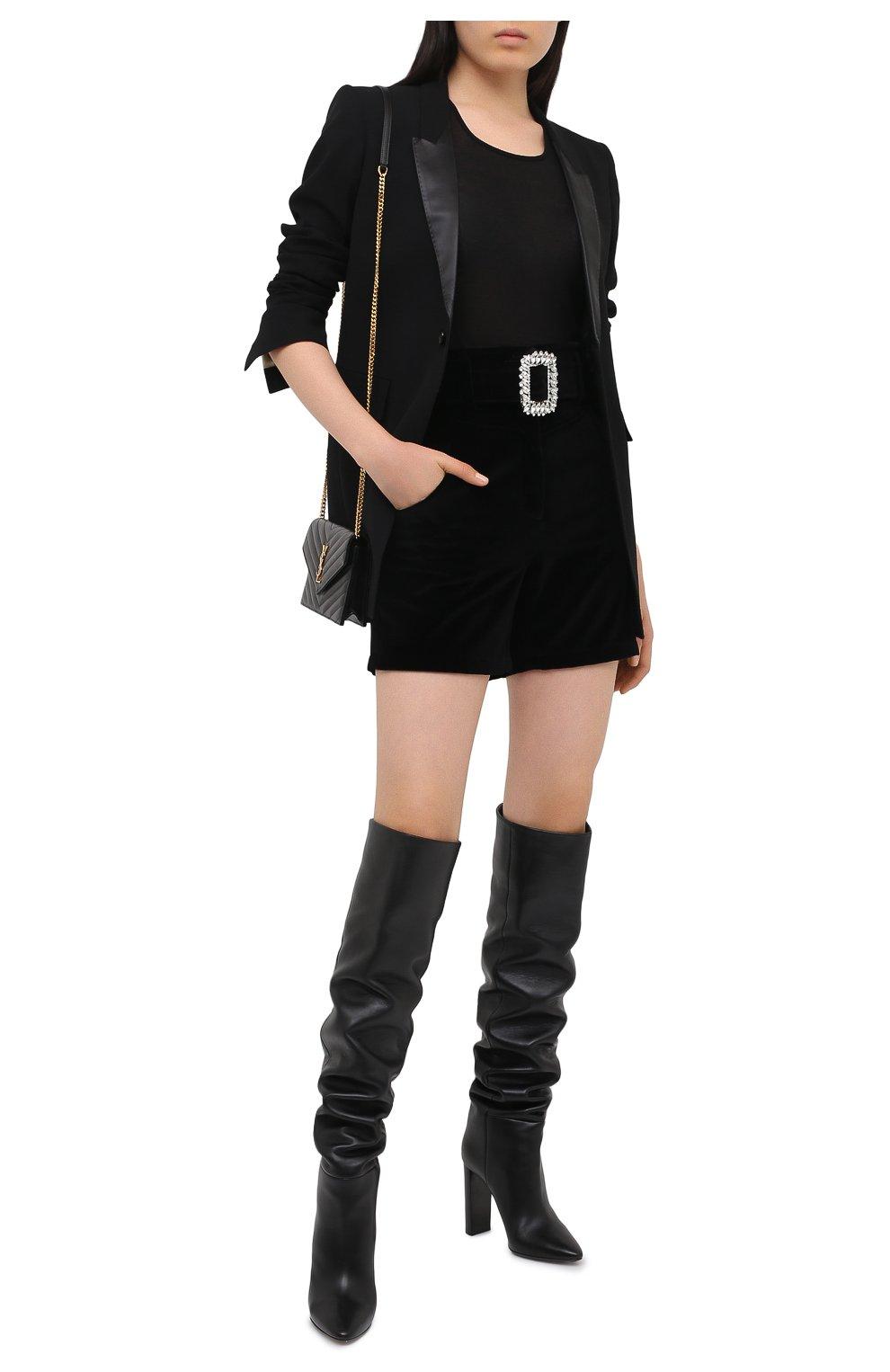 Женские бархатные шорты GIUSEPPE DI MORABITO черного цвета, арт. PF20045PA-13 | Фото 2 (Женское Кросс-КТ: Шорты-одежда; Стили: Гламурный; Длина Ж (юбки, платья, шорты): Мини; Материал внешний: Хлопок)