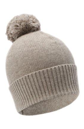 Женский кашемировая шапка ALLUDE темно-бежевого цвета, арт. 205/11244 | Фото 1