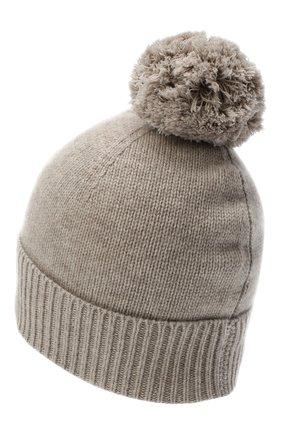 Женский кашемировая шапка ALLUDE темно-бежевого цвета, арт. 205/11244 | Фото 2