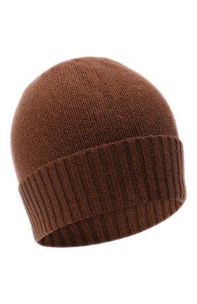Женская кашемировая шапка ALLUDE коричневого цвета, арт. 205/11245 | Фото 1 (Материал: Кашемир, Шерсть)