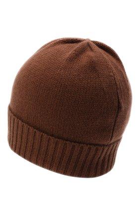 Женская кашемировая шапка ALLUDE коричневого цвета, арт. 205/11245 | Фото 2 (Материал: Кашемир, Шерсть)