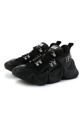 Женские комбинированные кроссовки runner PHILIPP PLEIN черного цвета, арт. F20S WSC1929 PXV001N   Фото 1