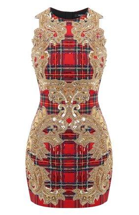 Женское платье с пайетками BALMAIN красного цвета, арт. UF16351/P052 | Фото 1
