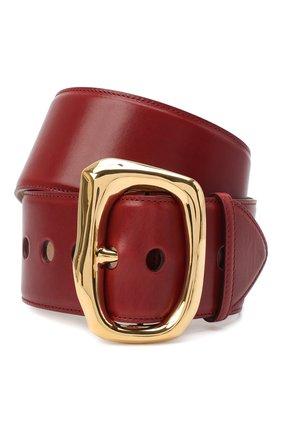 Женский кожаный ремень ALEXANDER MCQUEEN красного цвета, арт. 632125/1BR0M   Фото 1 (Материал: Кожа)