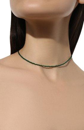 Женское ожерелье surfer's babe с хризопразом MOONKA зеленого цвета, арт. sb-nl-ch   Фото 2 (Материал: Серебро)