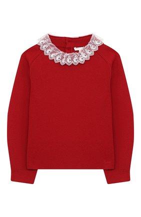 Детский хлопковый пуловер CHLOÉ красного цвета, арт. C15B54 | Фото 1