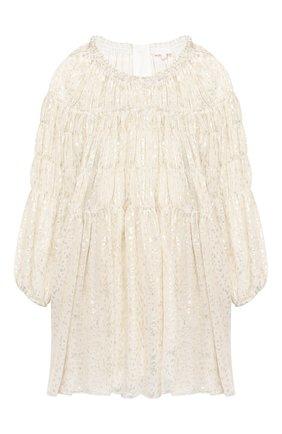 Детское шелковое платье CHLOÉ светло-бежевого цвета, арт. C12801 | Фото 1
