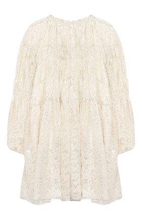 Детское шелковое платье CHLOÉ светло-бежевого цвета, арт. C12801 | Фото 2