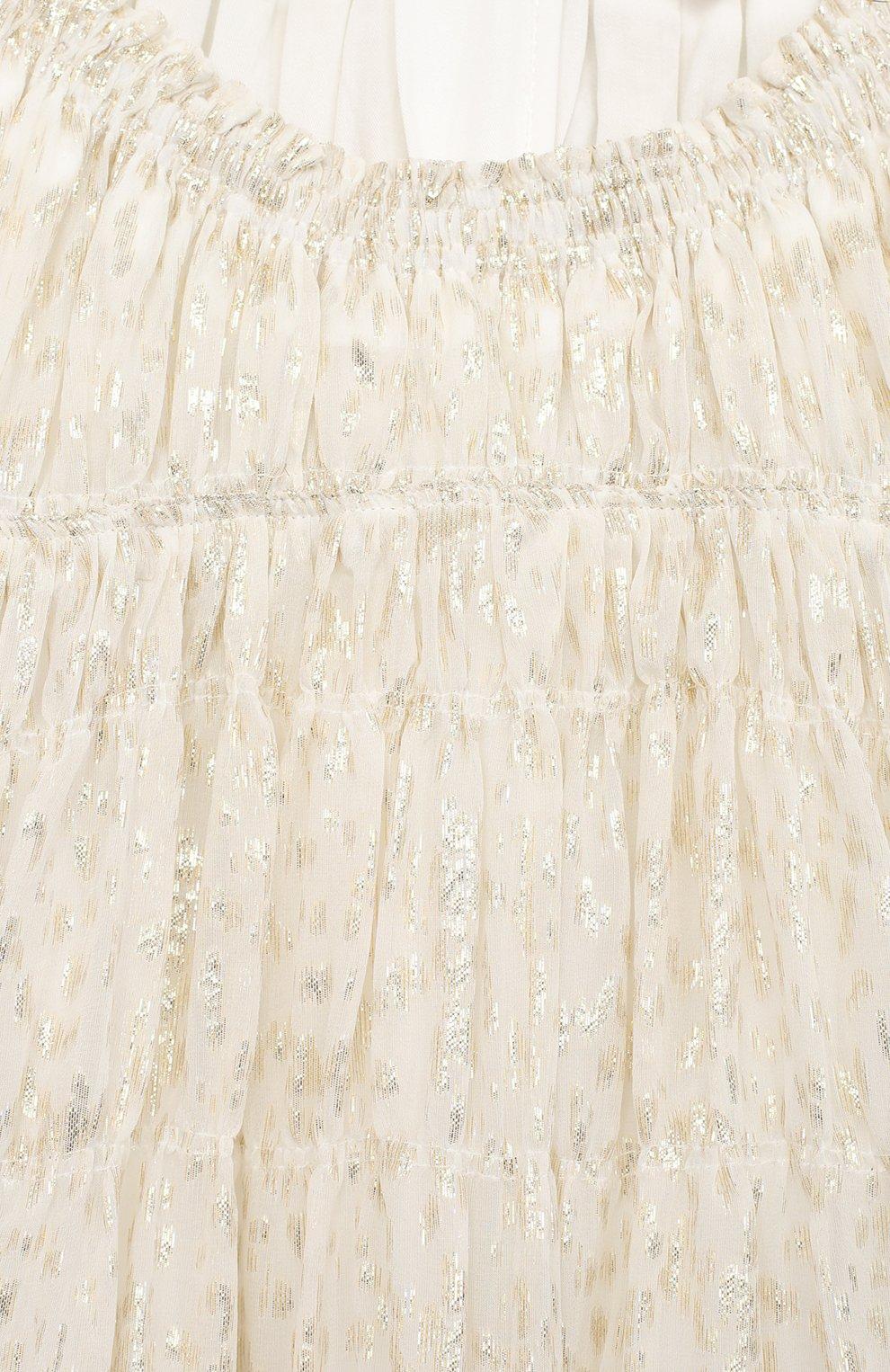 Детское шелковое платье CHLOÉ светло-бежевого цвета, арт. C12801   Фото 3 (Материал внешний: Шелк; Рукава: Длинные; Случай: Повседневный; Ростовка одежда: 10 - 11 лет   140 - 146см, 12 лет   152 см, 3 года   98 см, 4 года   104 см, 5 лет   110 см, 6 лет   116 см, 8 лет   128 см)