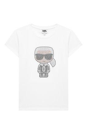 Детская футболка KARL LAGERFELD KIDS белого цвета, арт. Z15253 | Фото 1