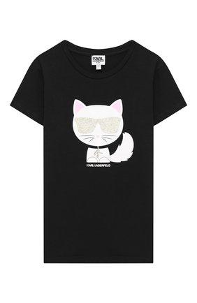 Детская футболка KARL LAGERFELD KIDS черного цвета, арт. Z15258 | Фото 1