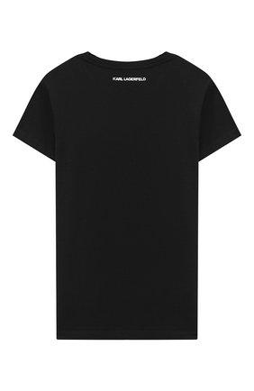 Детская футболка KARL LAGERFELD KIDS черного цвета, арт. Z15258 | Фото 2