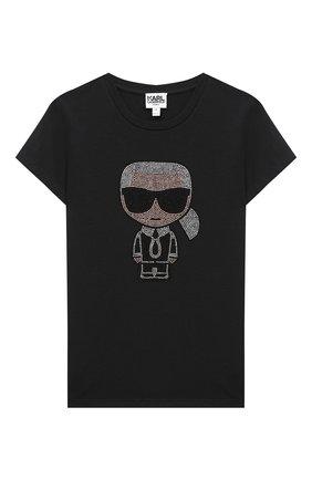 Детская футболка KARL LAGERFELD KIDS черного цвета, арт. Z15253 | Фото 1