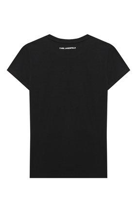 Детская футболка KARL LAGERFELD KIDS черного цвета, арт. Z15253 | Фото 2