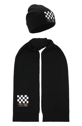 Детский комплект из шапки и шарфа MARC JACOBS (THE) черного цвета, арт. W28017 | Фото 1