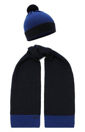 Детский комплект из шапки и шарфа EMPORIO ARMANI синего цвета, арт. 407308/0A747 | Фото 1