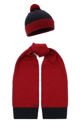 Детский комплект из шапки и шарфа EMPORIO ARMANI красного цвета, арт. 407308/0A747 | Фото 1