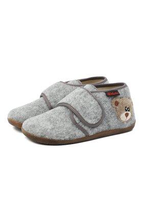 Детского домашние ботинки NATURINO серого цвета, арт. 0014000627/01/27-29 | Фото 1 (Материал внутренний: Текстиль, Натуральная кожа; Материал внешний: Текстиль; Кросс-КТ: велькро)