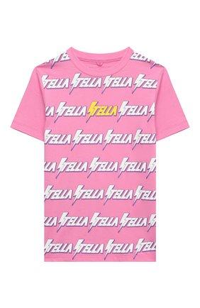 Детская хлопковая футболка STELLA MCCARTNEY розового цвета, арт. 601095/SPJ39 | Фото 1