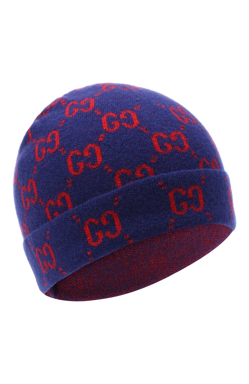 Детского шерстяная шапка GUCCI синего цвета, арт. 627562/4K206   Фото 1 (Материал: Шерсть)