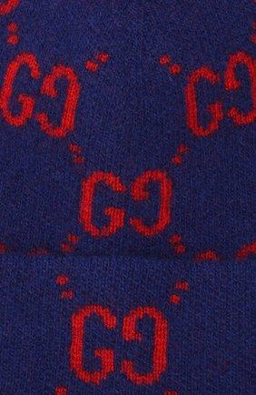 Детского шерстяная шапка GUCCI синего цвета, арт. 627562/4K206   Фото 3 (Материал: Шерсть)