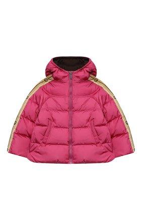 Детского пуховая куртка GUCCI розового цвета, арт. 622832/XWAK7 | Фото 1