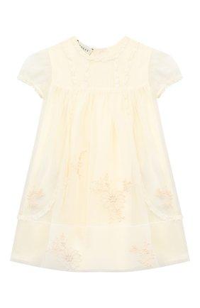 Женский шелковое платье GUCCI белого цвета, арт. 621092/ZAE5E | Фото 1