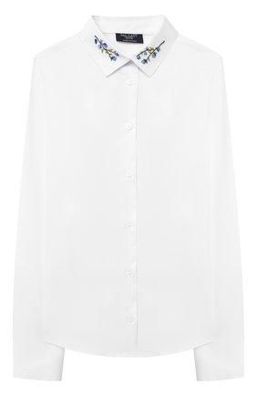 Детское хлопковая блузка DAL LAGO белого цвета, арт. R407A/7537/7-12 | Фото 1
